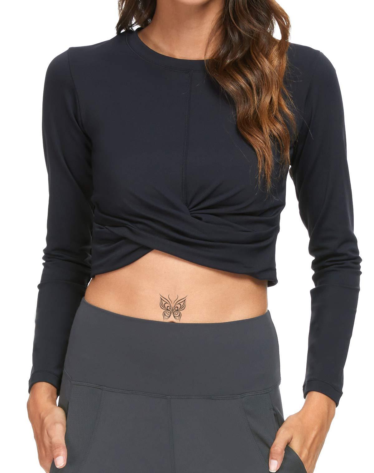 Crop Tops for Women Long Sleeve Yoga Running Shirts Workout Gym Twist