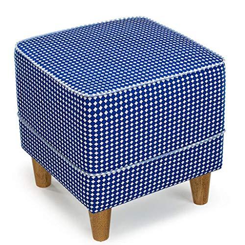LDM Rollsnownow Azul Marino Impresion de Punto de Onda Cuadrada con un Taburete para Zapatos Taburete de Tela para sofa Cambiar el Taburete para Zapatos Taburete Moderno