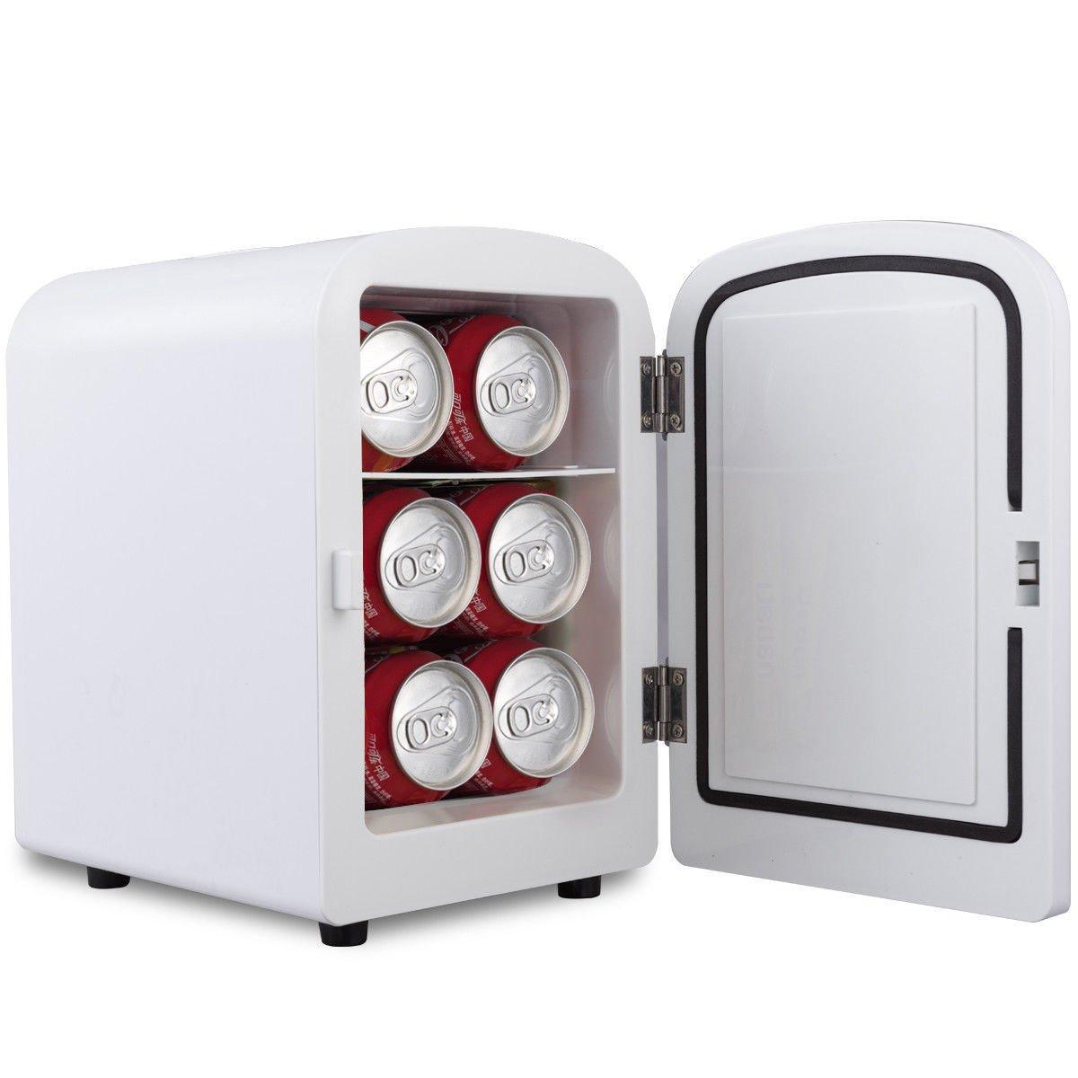 White Portable Mini Fridge Cooler Warmer Heats 4L Auto Car Boat Home Office Allblessing