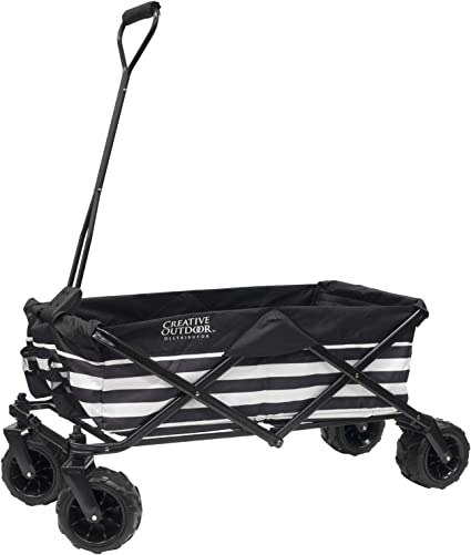 Folding Wagon Cart Collapsible Garden Beach Utility Outdoor Hiking Camping Black