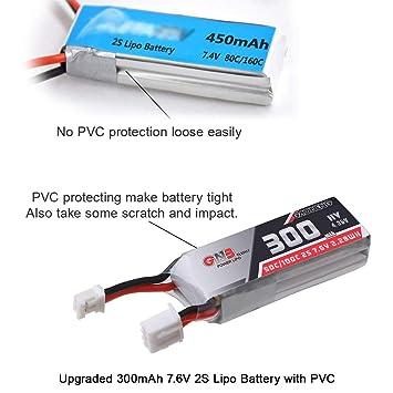 4pcs 300mAh 2S LiPo 50C/100C 7.6V HV 2S LiHv Batería con Conector ...