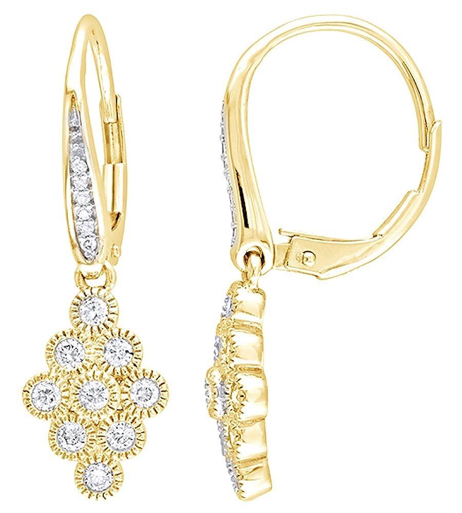 Weißszlig; natürlicher Diamant Vintage Stil Multi Kreis Drop Ohrringe in 14 ct 585 Weißszlig; Gold massiv (0,5 cttw 14 Karat (585) GelbGold