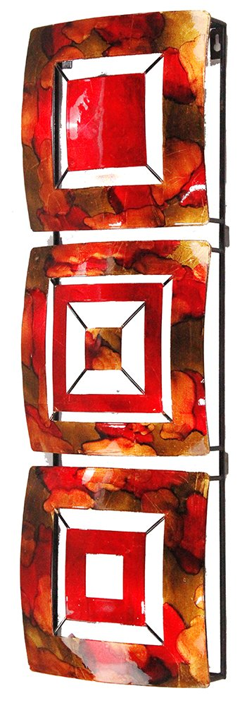 HomeRoots Décor 294498-OT Copper, Red and Gold Lacquered Vertical 3-Panel Metal Wall Décor, Multicolor