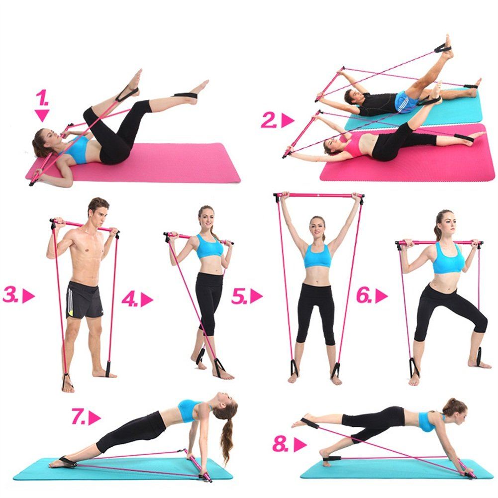 Amazon.com: Ueasy multifunción barra de Pilates cuerda ...
