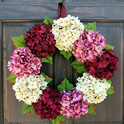 Faux Hydrangea Summer Spring Valentines Day Wreath for Front Door Decor; Burgundy Red, Cream and Pink; Small - Extra Large Sizes