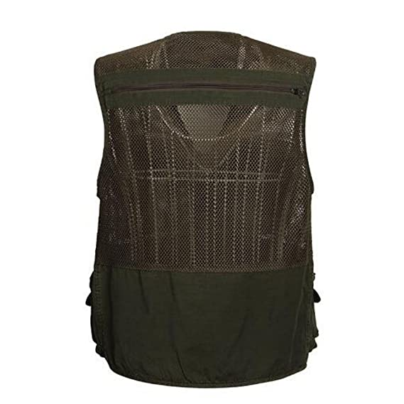 Outdoor Fishing Mesh Vest Multi-Pocket Hiking Hunting Jacket Military Waistcoat