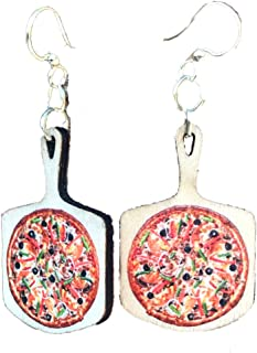 product image for Green Tree Jewelry Pizza Wood Wooden Laser Cut Earrings #1542