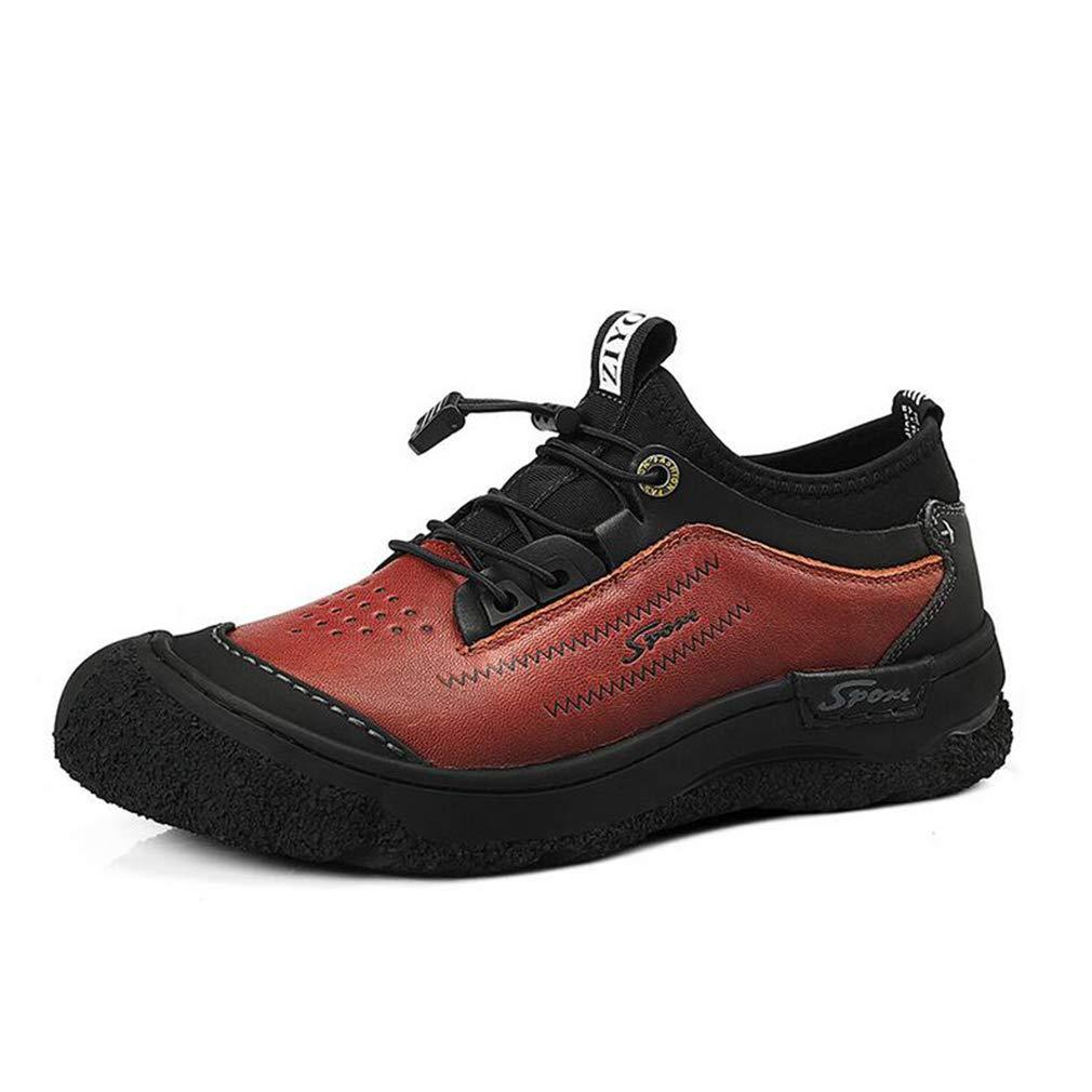 Hy Herren Formelle Schuhe, Leder Herbst Winter Outdoor Wanderschuhe, Werkzeug Stiefel Herren Freizeitschuhe Formelle Business Schuhe Komfort Fahren Schuhe (Farbe   rot braun, Größe   38)