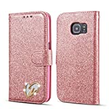 QLTYPRI Samsung Galaxy S6 Case, Glitter Premium PU Leather TPU Bumper Card Holder [Wrist Strap] Wallet Case with Cute Inlaid Loving Heart Diamond Flip Cover for Samsung Galaxy S6 - Rose Gold