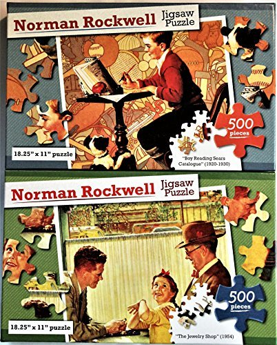 Norman Rockwell Vibrant Colored 500PC Jigsaw Puzzle 2Pack - Boy Reading Sears Catalogue / 1920-30 & The Jewelry Shop