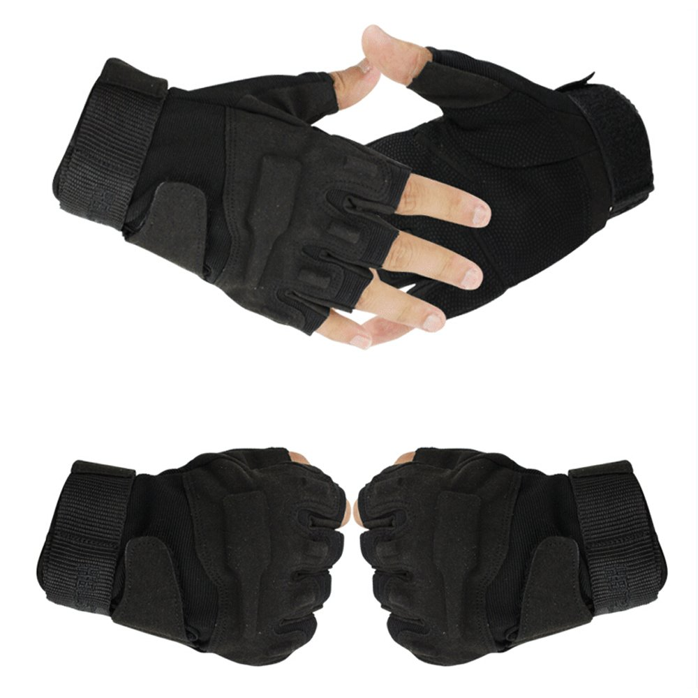 fenrad® Nero Khaki Tactical Militare Sport Corsa della Guanti Metà Della Barretta Airsoft Pesca Palestra Caccia Equitazione Gloves Senza Dita Size M(19CM-21CM)--Black