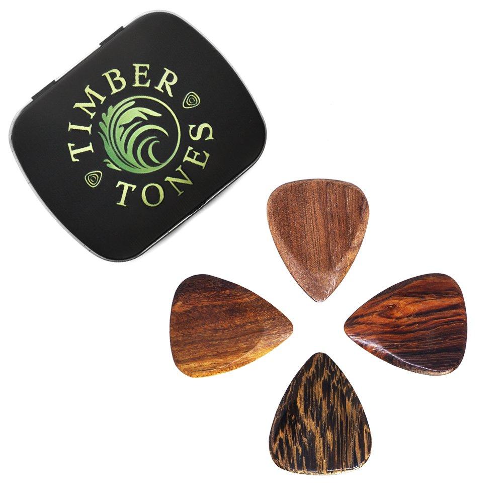 Timber Tones TTAGT4 - Plettri per chitarra acustica, 4 pezzi, in contenitore di latta Timber Tones Picks TIMT-ACOU-MT-4