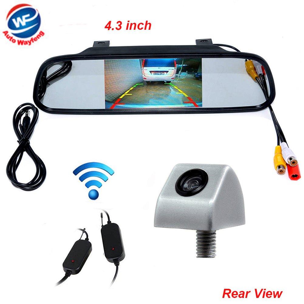 Auto Wayfeng WF® Caméra de recul sans fil avec caméra couleur CCD HD et kit de surveillance de rétroviseur 4.3 pour voiture / véhicule / camion / fourgonnette, caméra noire caméra noire WF-501
