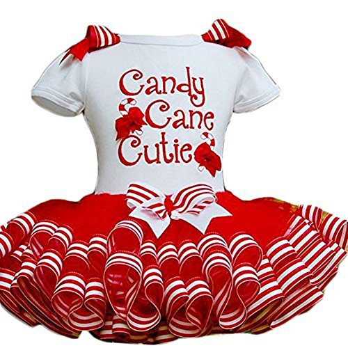 Little Girls Christmas Holiday Candy Cane Cutie Tutu Dress (110 (5-6Y))
