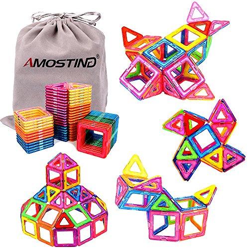 AMOSTING Magnetic Building Blocks Magnetic Tiles for Kids, Magnetic Blocks Stacking Blocks with Storage Bag - 64 Piece