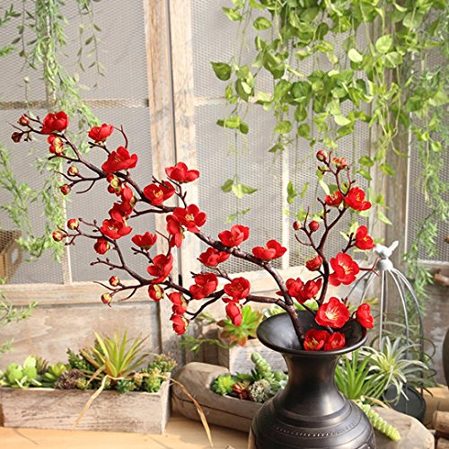 Artificial Flowers,Vibola® Fake Flowers Plum Blossom Floral Wedding Bouquet Party Decor (not include Vase) (Red)