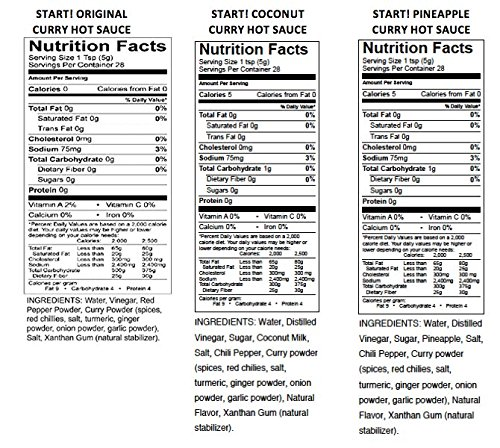 START! Curry Hot Sauce - Variety Sampler Party Pack - Original, Coconut, and Pineapple Flavors - Vegan + Gluten Free - Everyday Gourmet Light Spice (12 pack) by Start (Image #2)