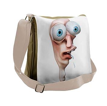 ea69e817fe0b Amazon.com | Ambesonne Humor Messenger Bag, Stupid Derp Human Comics ...