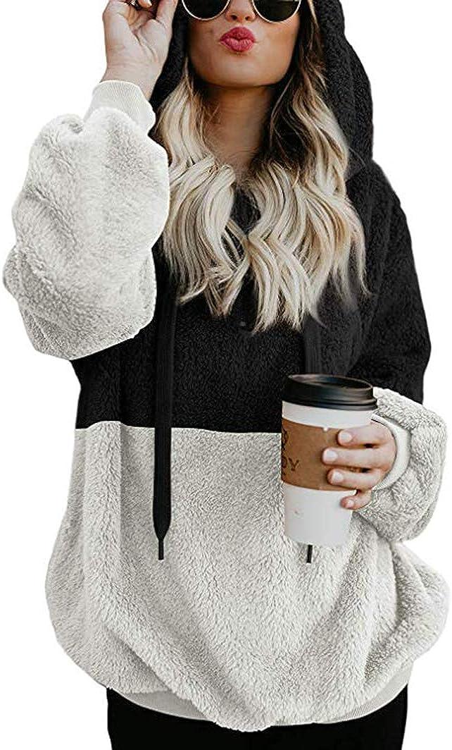Sherosa Women's Fuzzy Fleece Pullover Color Block Loose hoodie Sweatshirts Coat