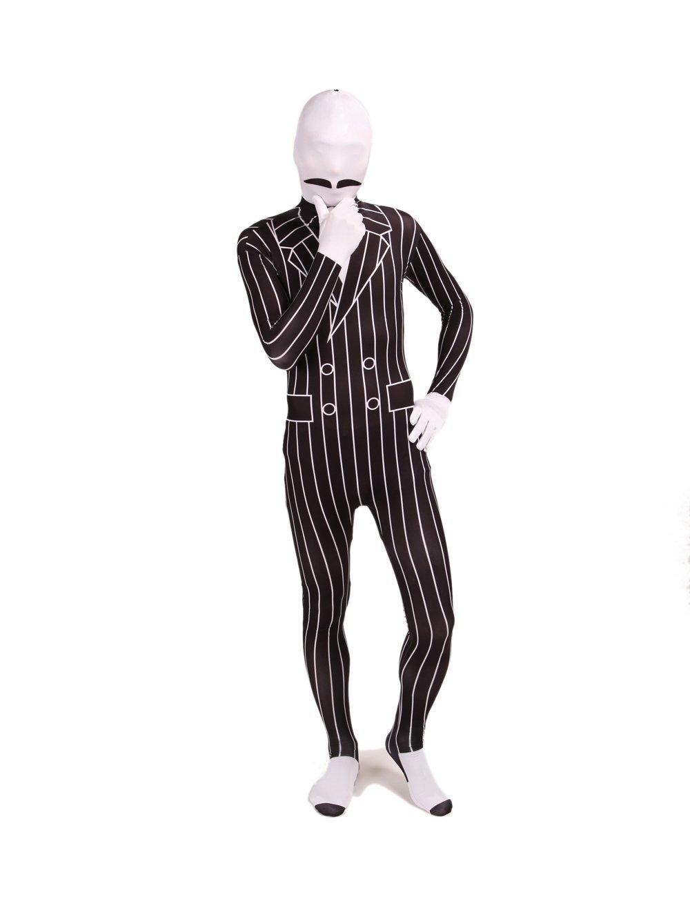 SCMart【高品質伸縮性素材全身タイツ おもしろ衣装】 柄タイツ 白黒 髭 紳士 ストライプ モンスター ハロウィン コスプレ 【XXLサイズ】 おまけ付き   B00GW8KSR4