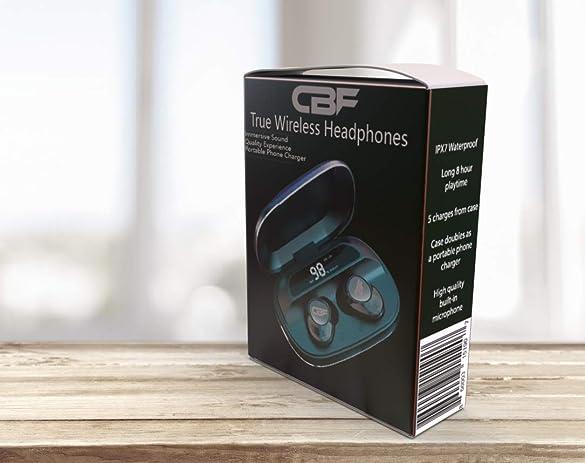CBF True Wireless Bluetooth Earbuds, Sport Headphones w Charging Case, HiFi True Stereo Earphones w IPX7 Waterproof Noise Reduction, Built-in Mic in-Ear Headset, 8hr Playtime