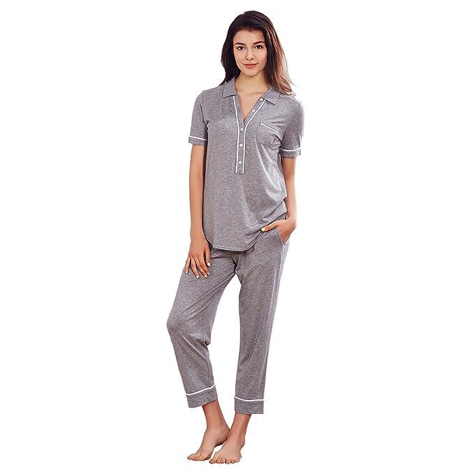 Dorekim Pijamas de botón de verano de verano para mujer Set Pijamas de manga corta gris
