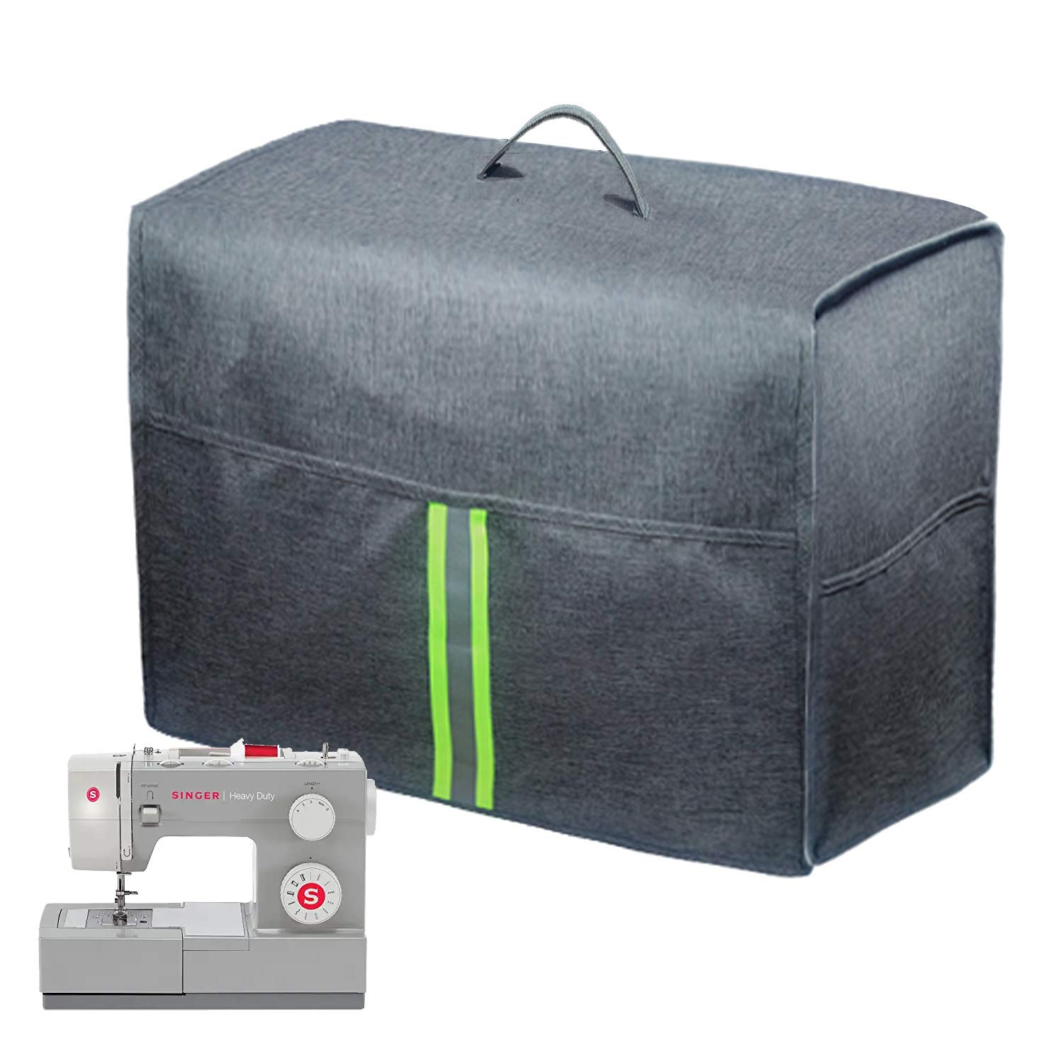 Wine Red Sewing Machine Dust Cover with Storage Pockets Universal for Most Standard Singer /& Brother Machines