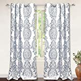 "DriftAway Samantha Thermal/Room Darkening Grommet Unlined Window Curtains, Floral/Damask Medallion Pattern, Set of Two Panels, Each 52""x84"" (Blue)"