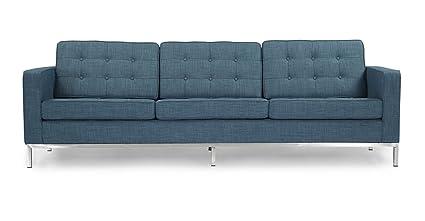 Kardiel FKL3-CURACAO-BLN Florence Knoll Style 3 Seat Sofa Blue Curacao Vintage Twill