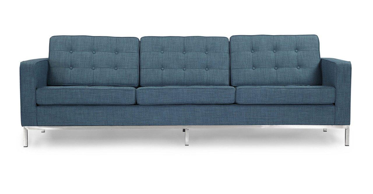 Kardiel Florence Knoll Style Sofa 3 Seat, Blue Curacao Vintage Twill