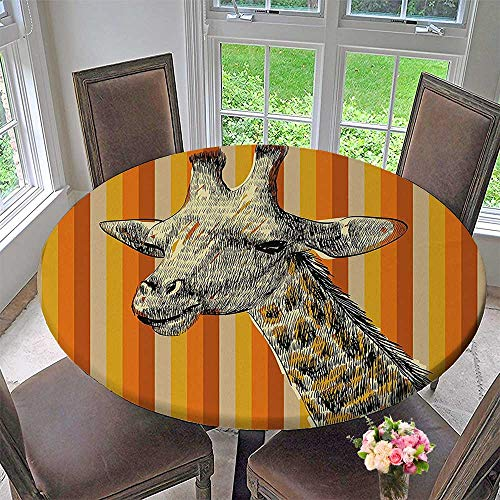 Mikihome Modern Simple Round Tablecloth Portrait of a Giraffe Hipster African Animal Zoo Safari Wildlife Themed Art Multi Decoration Washable 59