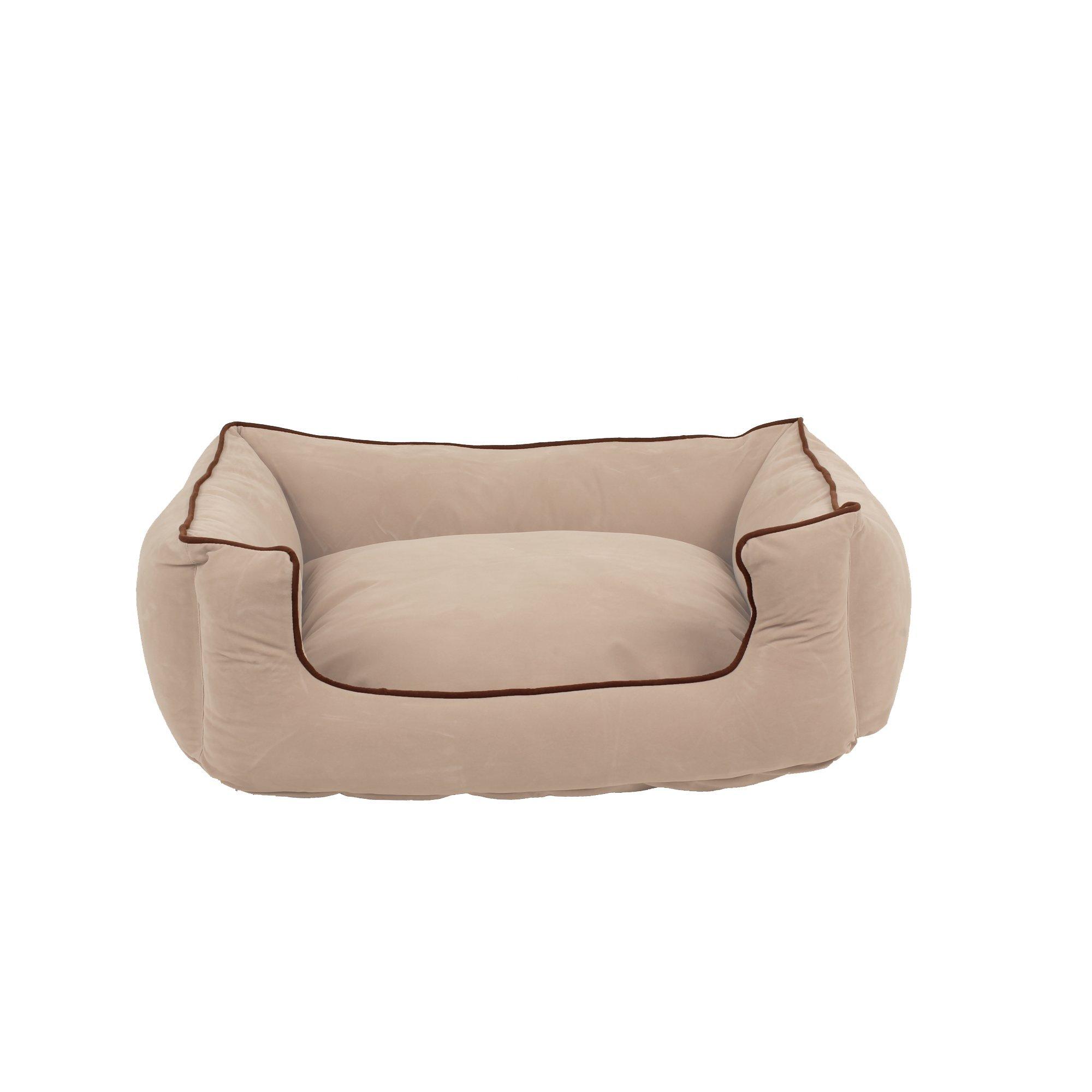 Carolina Pet Microfiber Kuddle Lounge Low Profile Bed for Pets, Medium, Khaki/Chocolate