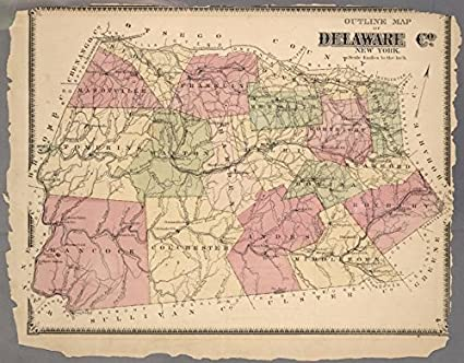 Amazon.com: Historic 1869 Map | Outline Map of Delaware Co. New York ...