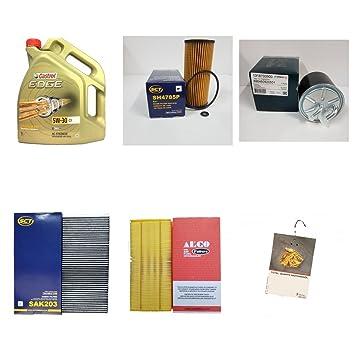 Filtro del paquete 5L Castrol Edge aceite de 5 W 30 C3 y 4 Filtro ...