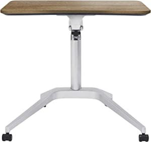 Unique Furniture Workpad Height Adjustable Laptop Cart Mobile Desk, with Walnut Top
