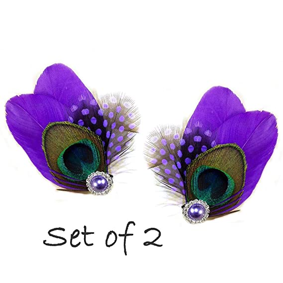 Lilac Light Purple /& Silver Peacock Feather Hair Clip Fascinator Bridesmaid 228