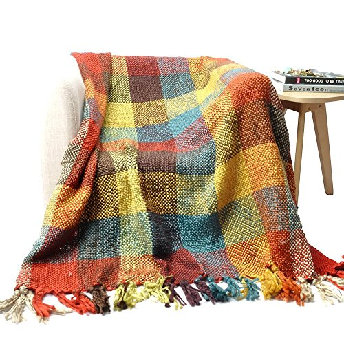 - Battilo Cross Woven Fun Colors Checked Pattern Throw Blanket with Tasseled Ends 60