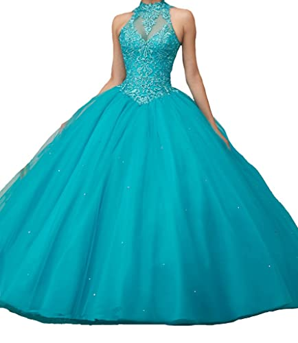 Jurong Women's Appliques High Neck Beads Long Pageant Quinceanera Dresses