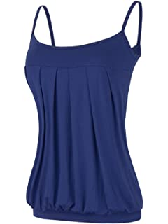 0f5cfa999d Maggie Tang Women s Strappy Pleated Camisoles Basic Cami Top Pleated Tube  Top