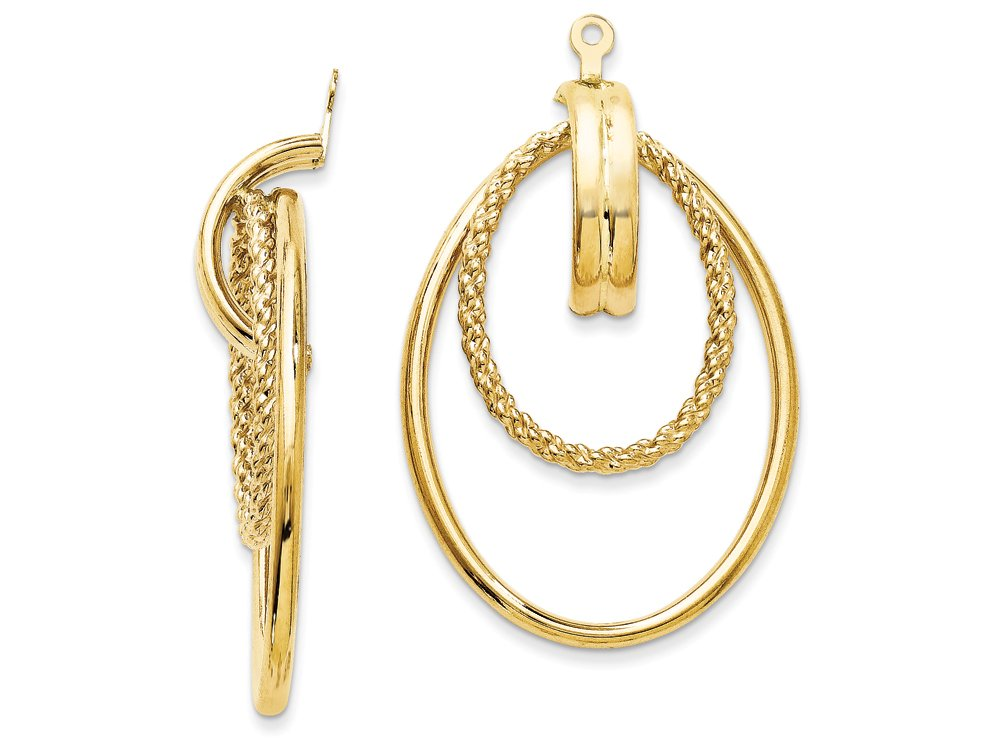 14k Yellow Gold Polished Double Hoop Earring Jackets