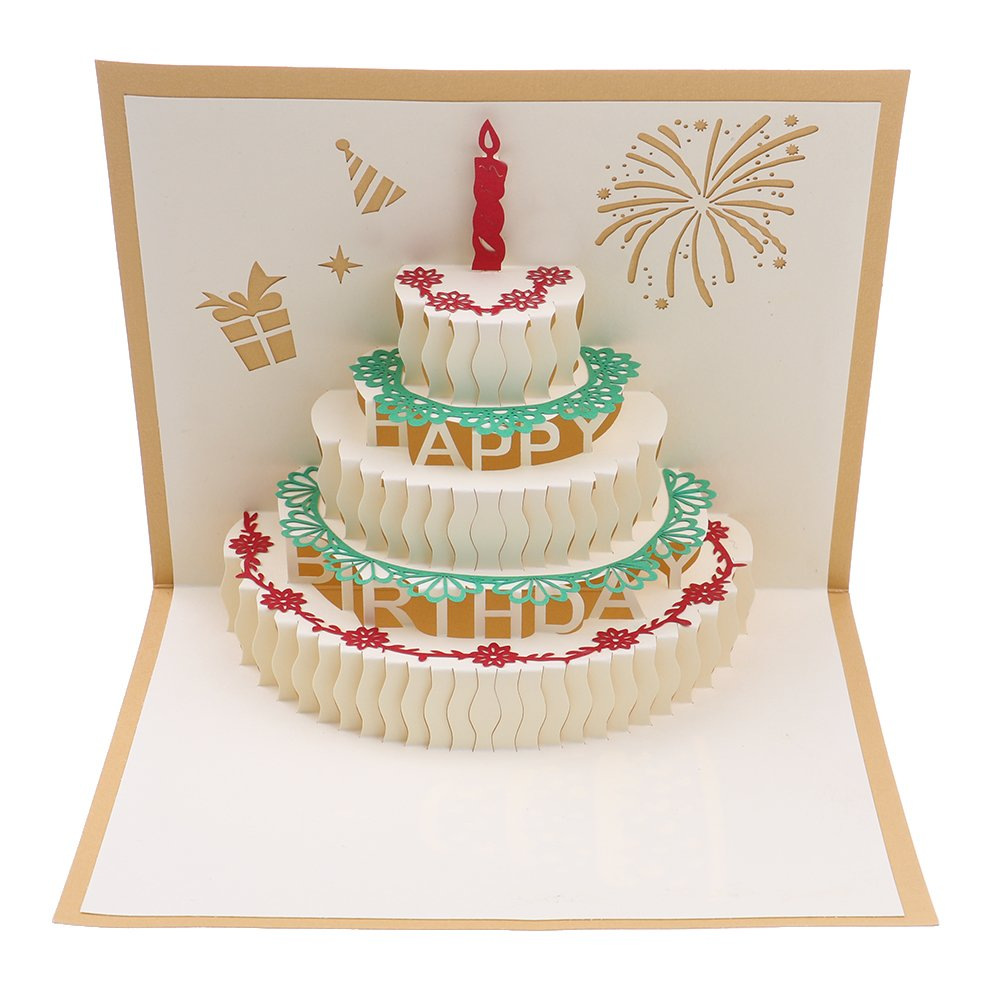 Fabulous Bloomeet 3D Pop Up Cake Origami Card Happy Birthday Greeting Card Funny Birthday Cards Online Alyptdamsfinfo