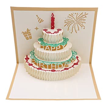 Bloomeet 3D Pop Up Cake Origami Card Happy Birthday Greeting With Envelope Best Wishes