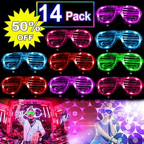 14 Pack Party LED Glasses, LED Light Up Toys Glow in the Dark LED Party Favors Set Flashing Rave Glasses Shades Show Dress-Up Accessories Back to School Party Supplies for Kids Men Women ()