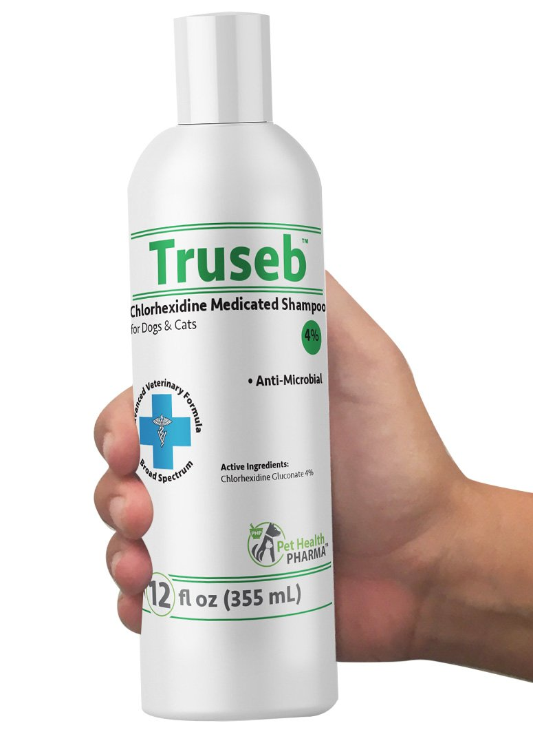 Truseb | #1 Chlorhexidine Shampoo for Dogs, puppies & Cats 4% Medicated pet Shampoo - Antimicrobial Deodorizing Dry Itchy Hot Spot Yeast Effective Against Bacterial Skin Conditions Advance Vet Formula