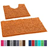 LuxUrux Bathroom Rugs Luxury Chenille 2-Piece Bath Mat Set, Soft Plush Anti-Slip Shower Rug +Toilet Mat.1'' Microfiber Shaggy Carpet, Super Absorbent Machine Washable Bath Mats (Curved Set, Orange)