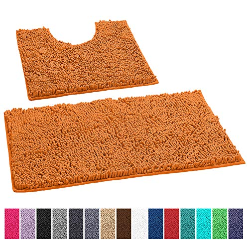(LuxUrux Bathroom Rugs Luxury Chenille 2-Piece Bath Mat Set, Soft Plush Anti-Slip Shower Rug +Toilet Mat.1'' Microfiber Shaggy Carpet, Super Absorbent Machine Washable Bath Mats (Curved Set, Orange) )