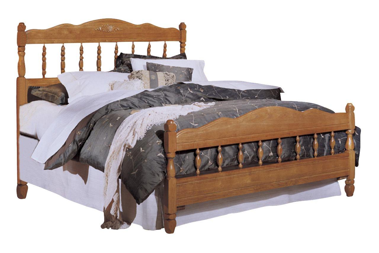 Carolina Carolina Oak Bedroom Set with Full Bed - Nightstand - Dresser and Mirror