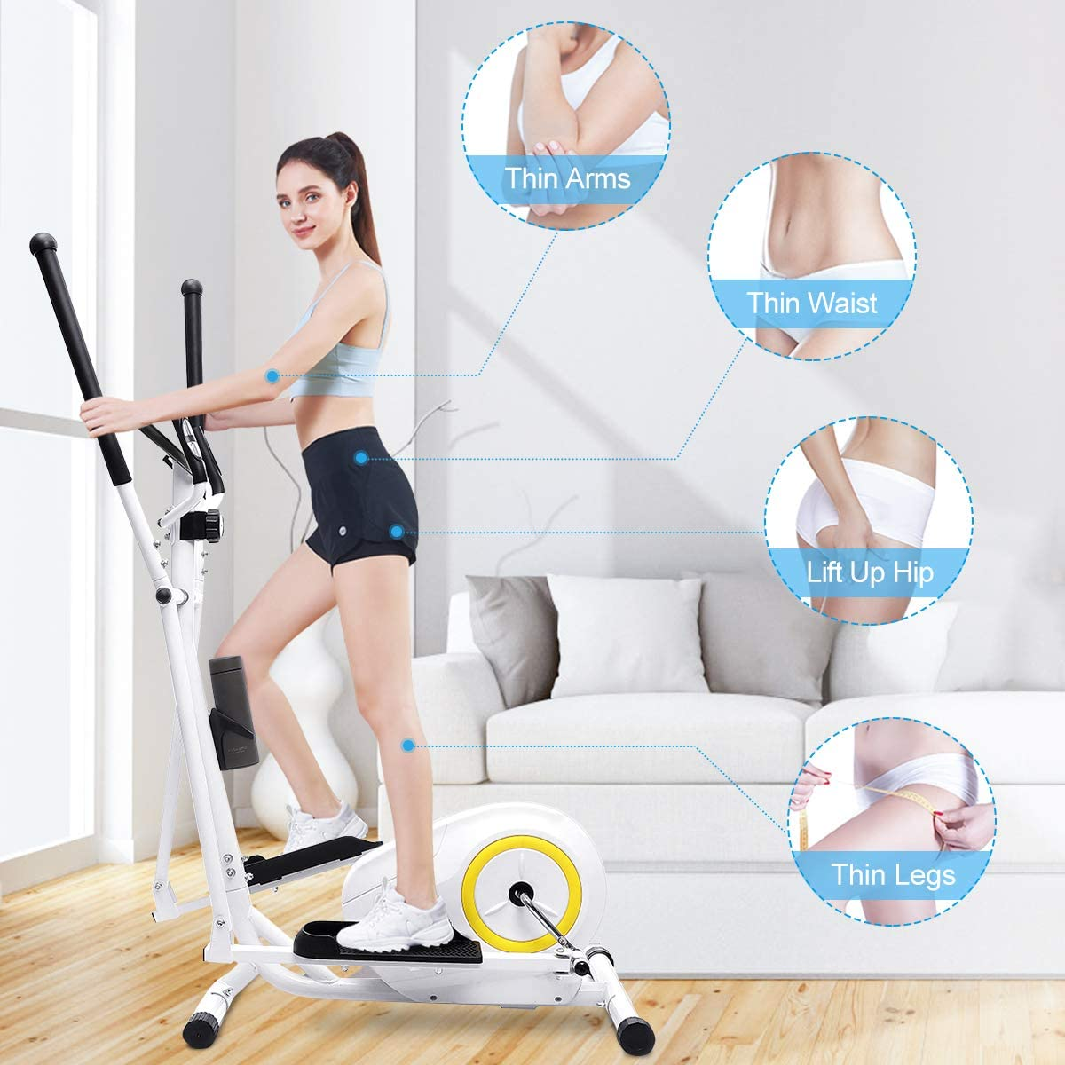 Doufit Elliptical Machine for Home Use, Portable Elliptical Trainer for Home Gym Aerobic Exercise, Cardio Fitness Equipment with LCD Monitor, Adjustable Magnetic Resistance and Free Mat