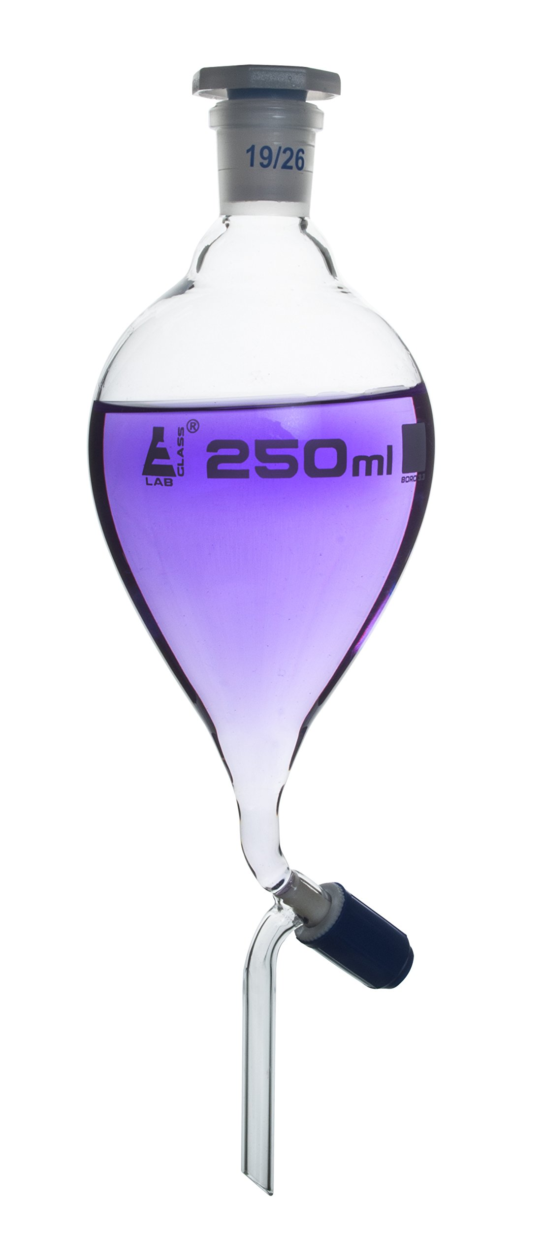 Separating Funnel, 250ml - Pressure Equalizing, Pear Shaped - 19/26 Plastic Stopper, Rotaflow Stopcock - Borosilicate Glass - Eisco Labs by EISCO