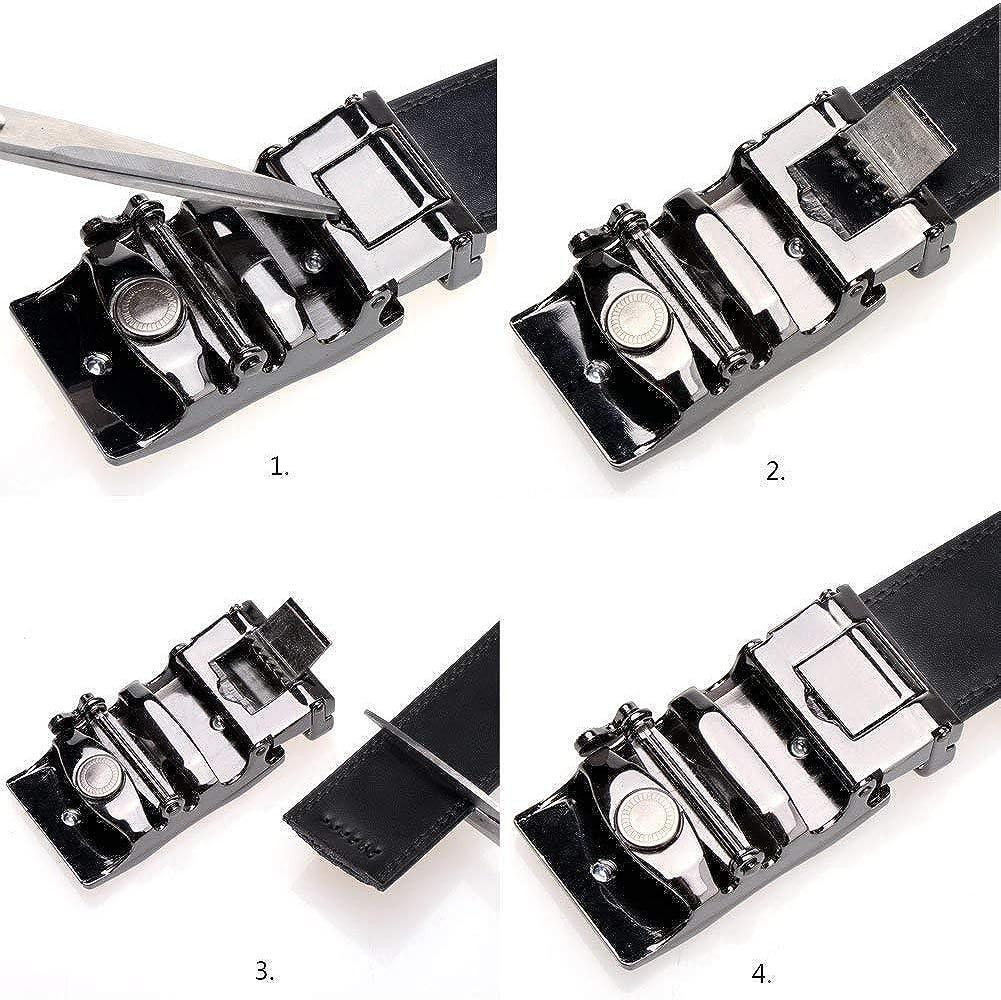 Mens Leather Belt Sliding Buckle Ratchet Dress Belt 35mm Wide 1 3//8